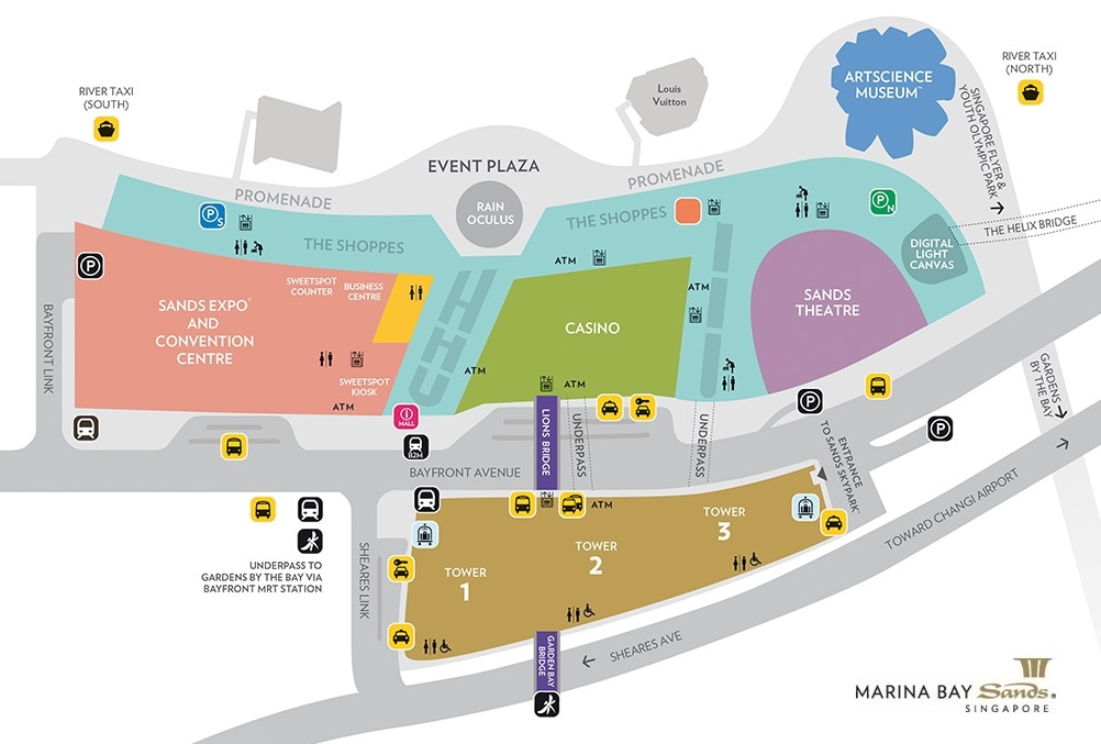 Map of Marina Bay Sands locations and landmarks