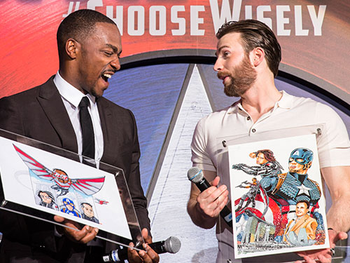 Anthony Mackie and Chris Evans at the Singapore premiere of Captain America: Civil War