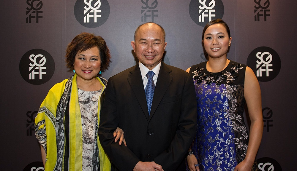 Director John Woo and family at Marina Bay Sands
