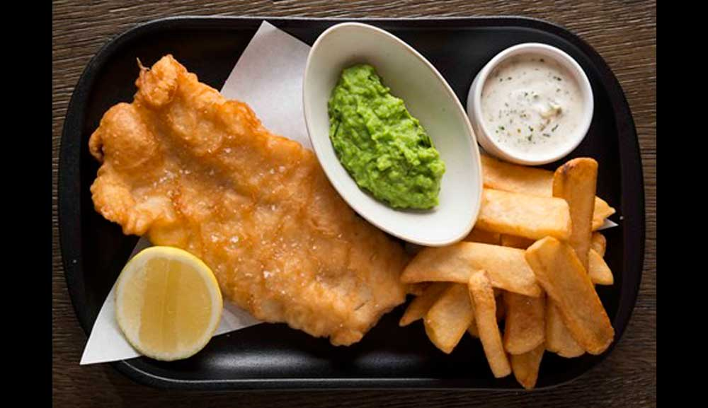 Traditional Fish and Chips at Bread Street Kitchen in Singapore