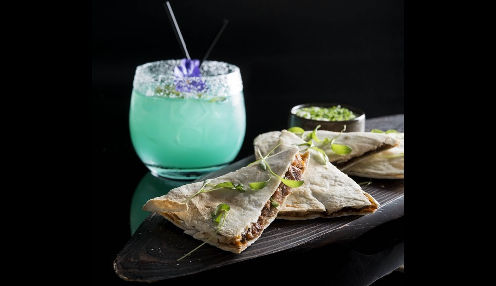 Flight Bar & Lounge - Blue Sky Margarita with Duck Confit Quesadilla