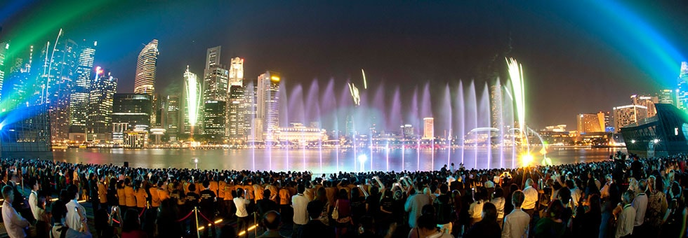 Wonder full light water show for Marina bay sands architecture concept