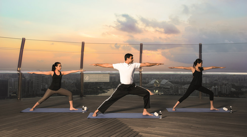 sunrise yoga at observation deck
