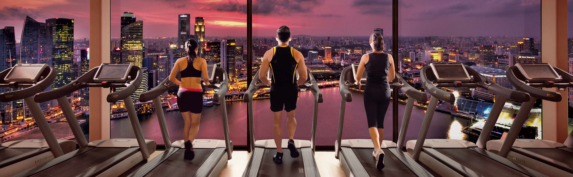 Banyan Tree Fitness Club with Singapore City View