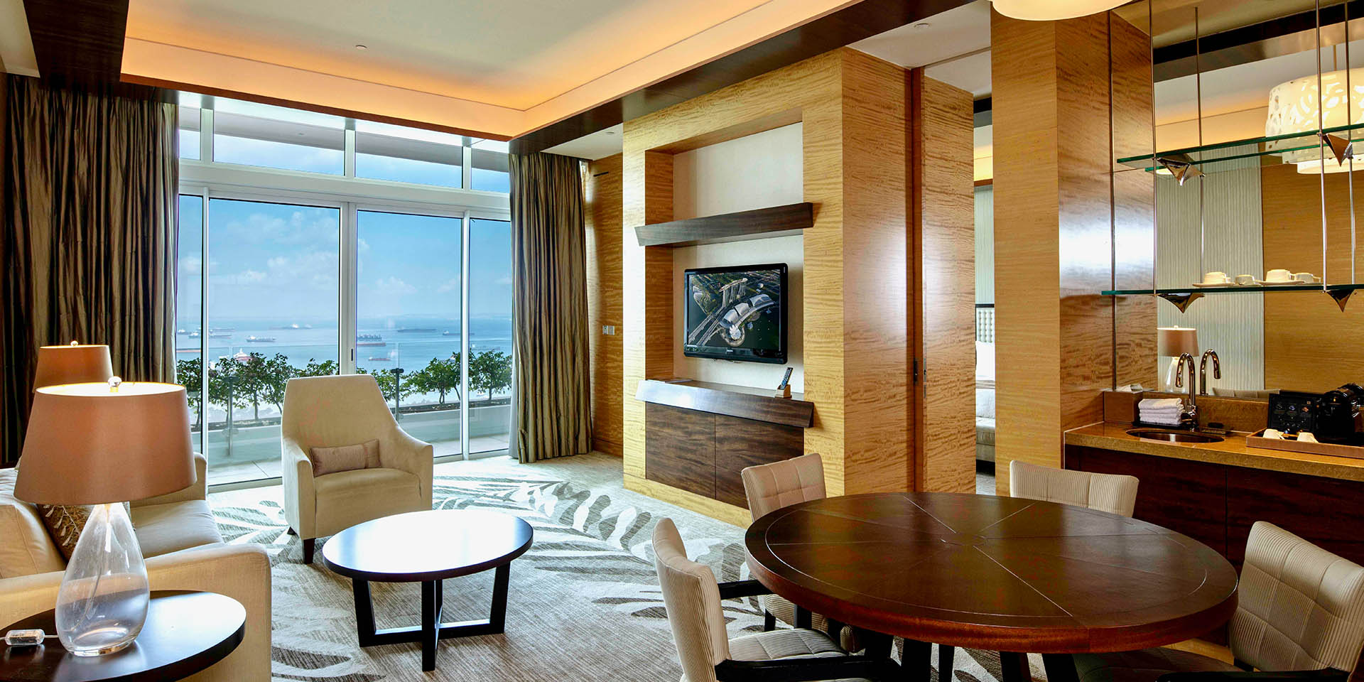 Harbour Suite Living Room with View at Marina Bay Sands