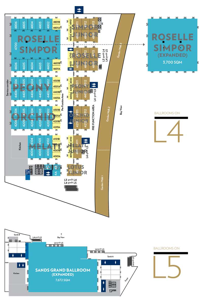 Floorplan: Ballrooms on Levels 4 and 5 of Sands Expo & Convention Centre