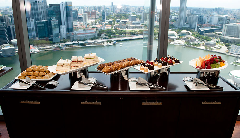 Hospitality suite food set up at MBS