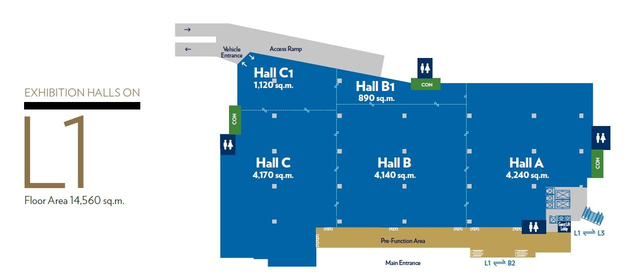 Floorplan: Exhibition Hall on L1 of Sands Expo & Convention Centre