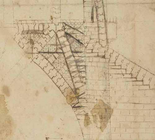 Section for the Tiburio of the Milan Cathedral  Circa 1487—90  F.850 recto  Leonardo da Vinci Codex Atlanticus