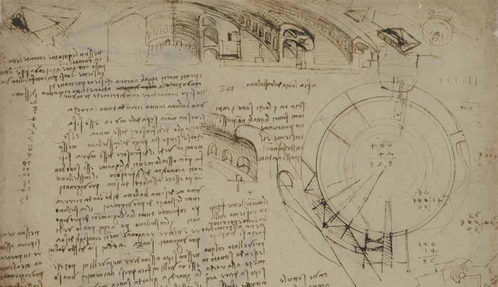 Large Cross-Section Plan of a Circular Fortress Circa 1502—03  F.132 recto  Leonardo da Vinci Codex Atlanticus