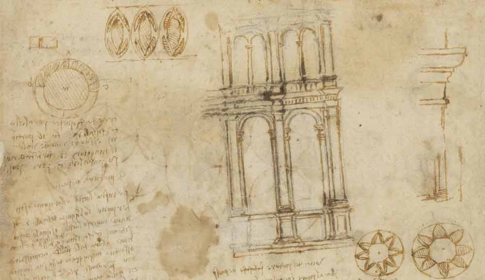 Drawings of Arcades Circa 1516 F.505 verso  Leonardo da Vinci Codex Atlanticus