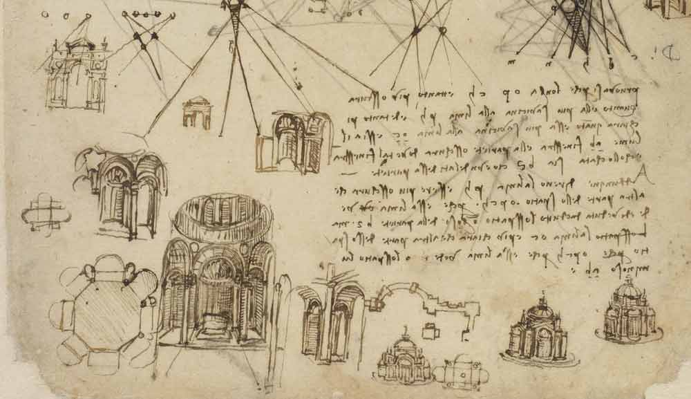 Studies for a Centrally Planned Church  Circa 1508 F.104 recto  Leonardo da Vinci Codex Atlanticus