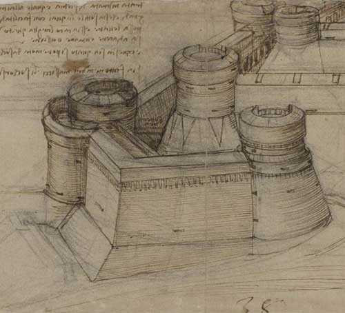 Study for a Square Fortress 1507 F.117 recto  Leonardo da Vinci Codex Atlanticus
