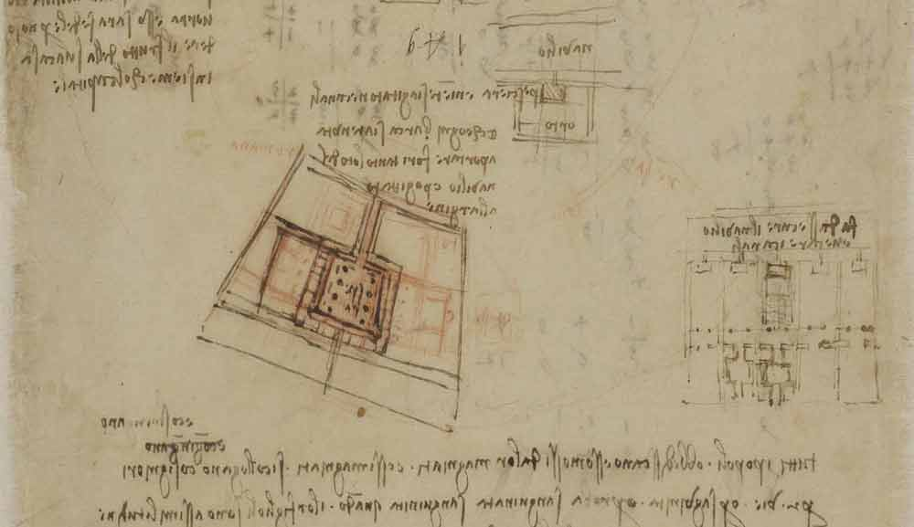 Town Planning Proposal Circa 1493—97  F.184 verso  Leonardo da Vinci Codex Atlanticus