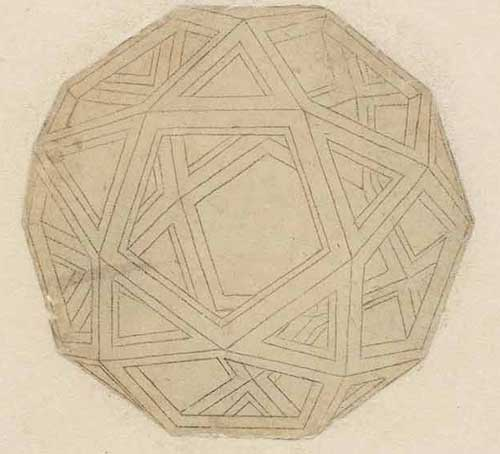 Drawing of a Platonic Solid Circa 1498 F.707 recto  Leonardo da Vinci Codex Atlanticus