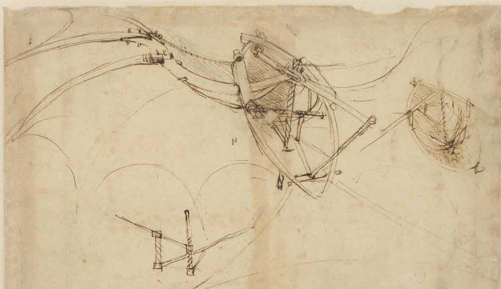 Flying Machine 1478—90  F.860 recto  Leonardo da Vinci Codex Atlanticus