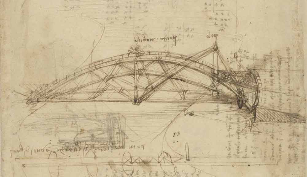 Mobile Bridge Circa 1487—90  F.855 recto Leonardo da Vinci  Codex Atlanticus