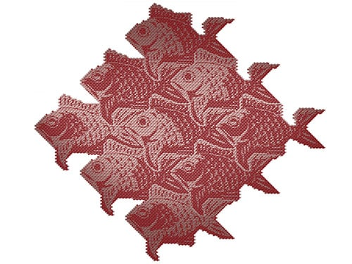 M.C. Escher, R. Hassel, Fish Scales III, Black, Red and Gold Variant on Brushed Aluminium