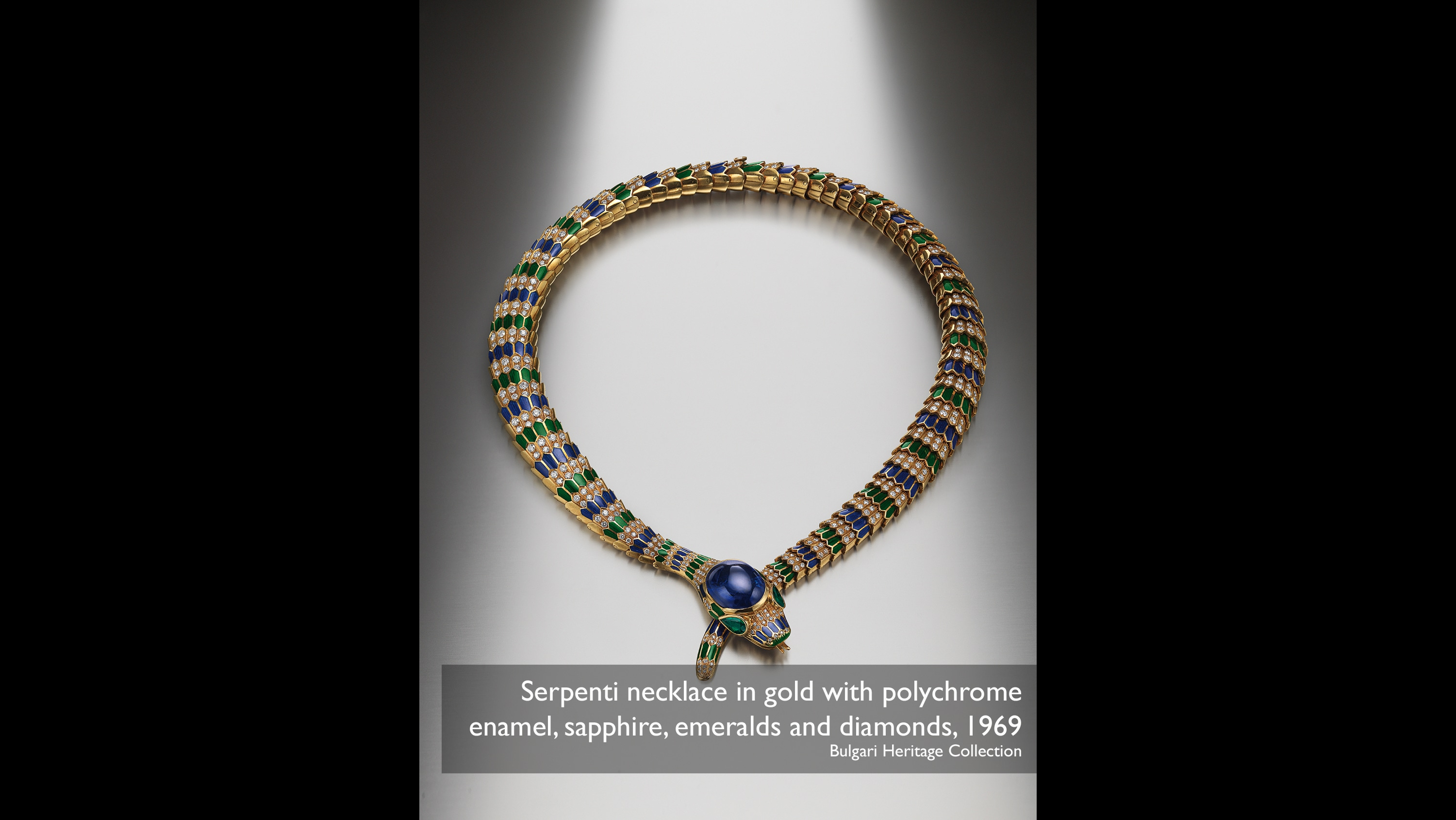 Serpenti necklace in gold with polychrome enamel, sapphire, emeralds and diamonds, 1969 Bulgari Heritage Collection