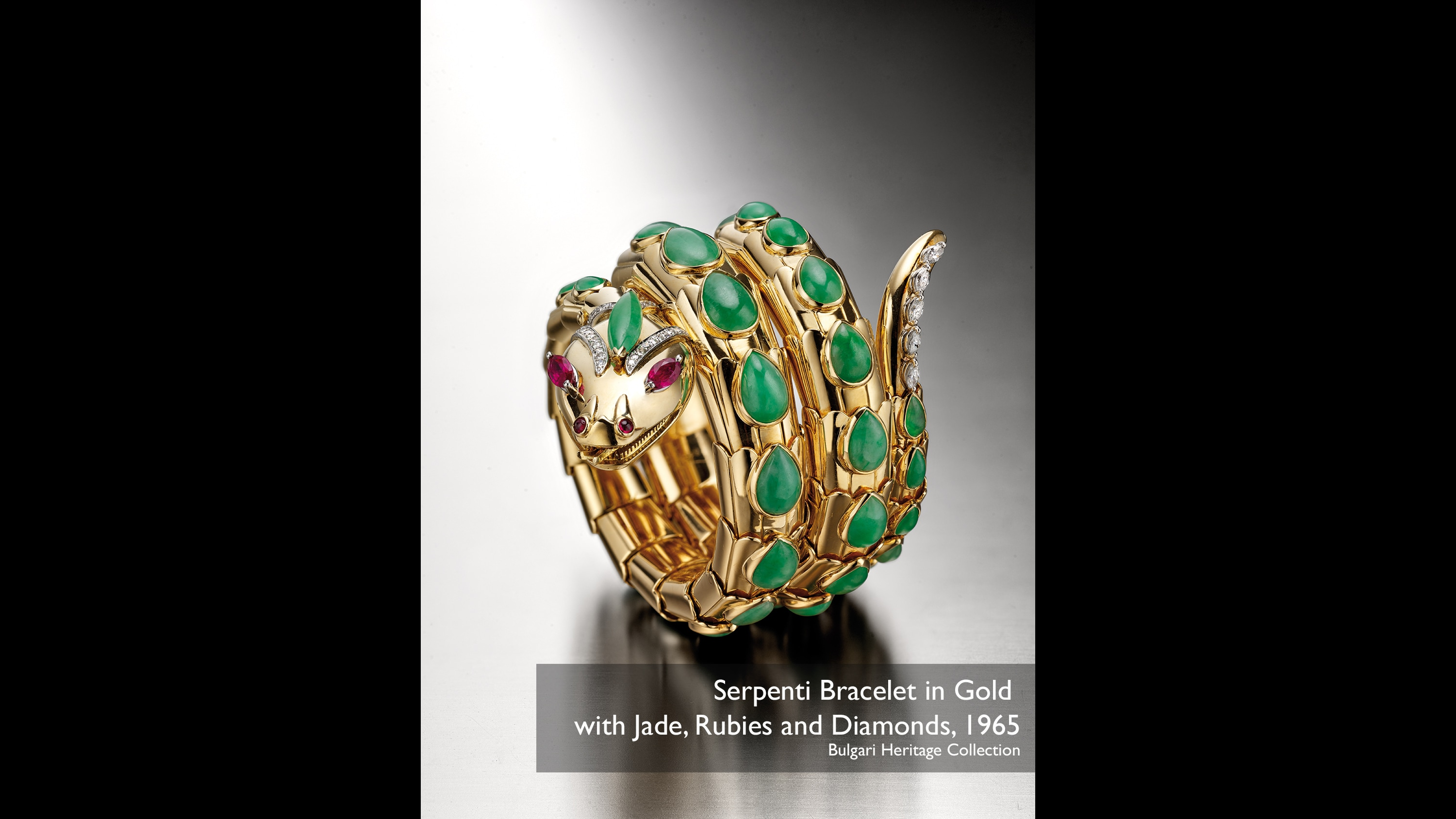 Serpenti bracelet in gold with jade, rubies and diamonds, 1965 Bulgari Heritage Collection