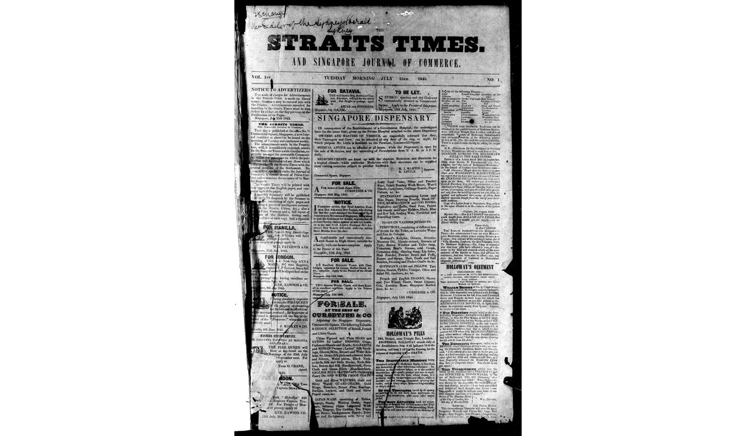 The Straits Times Historical newpaper