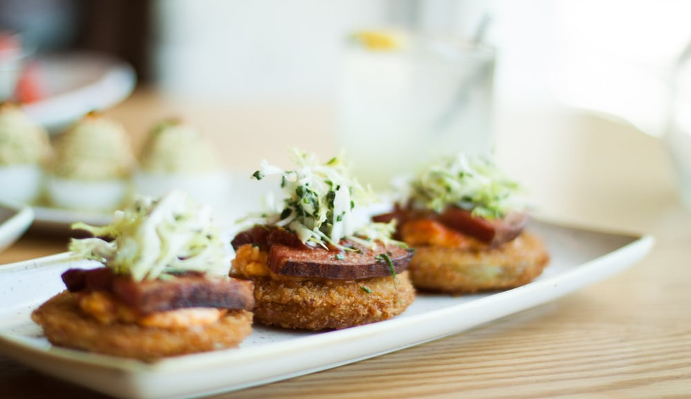 Fried Green Tomatoes in The Bird Southern Table and Bar in Marina Bay Sands