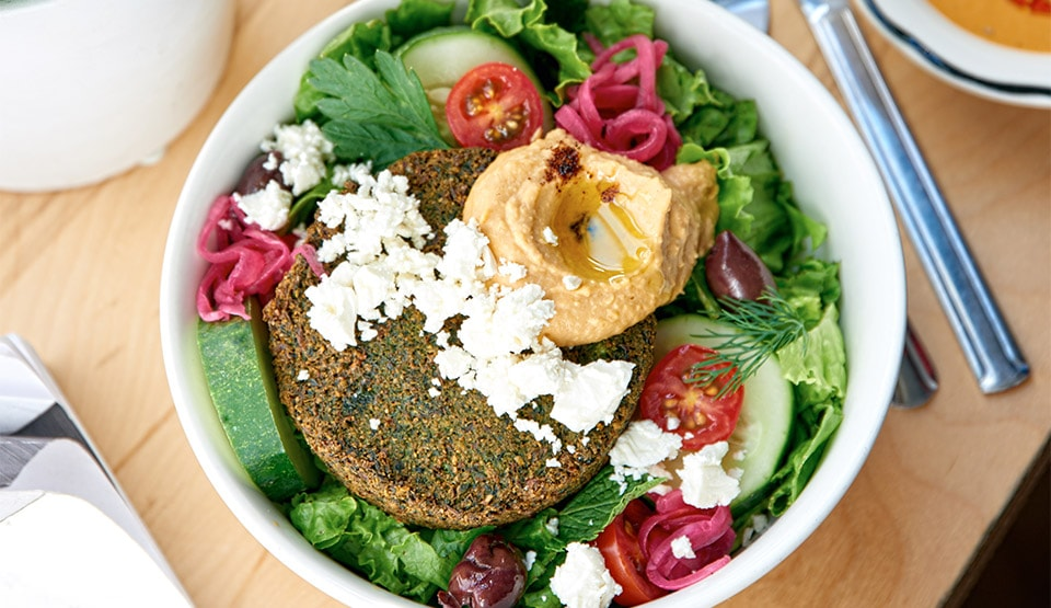 Vegetarians don't lose out: Black Tap also offers creative vegetarian options like this house-made Falafel Burger Salad ($21++)