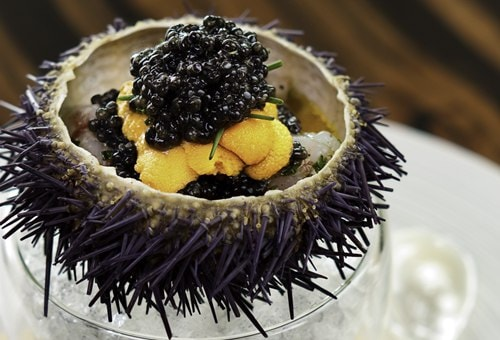 Waku Ghin - Marinated Botan Shrimp with Sea Urchin and Oscietra Caviar