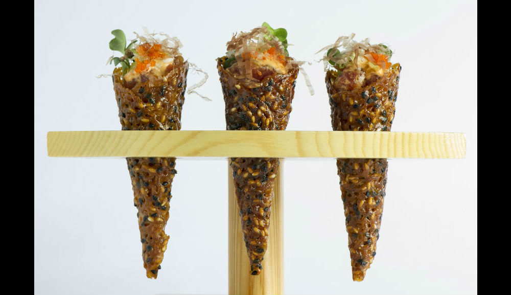 Spago Big Eye Tuna Tartare Cones, Chili Aioli, Shaved Bonito, Scallions, Masago