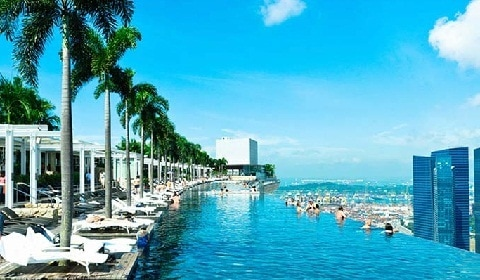 Sands skypark infinity pool restaurants obervation deck gift shop - Singapore marina bay sands infinity pool ...