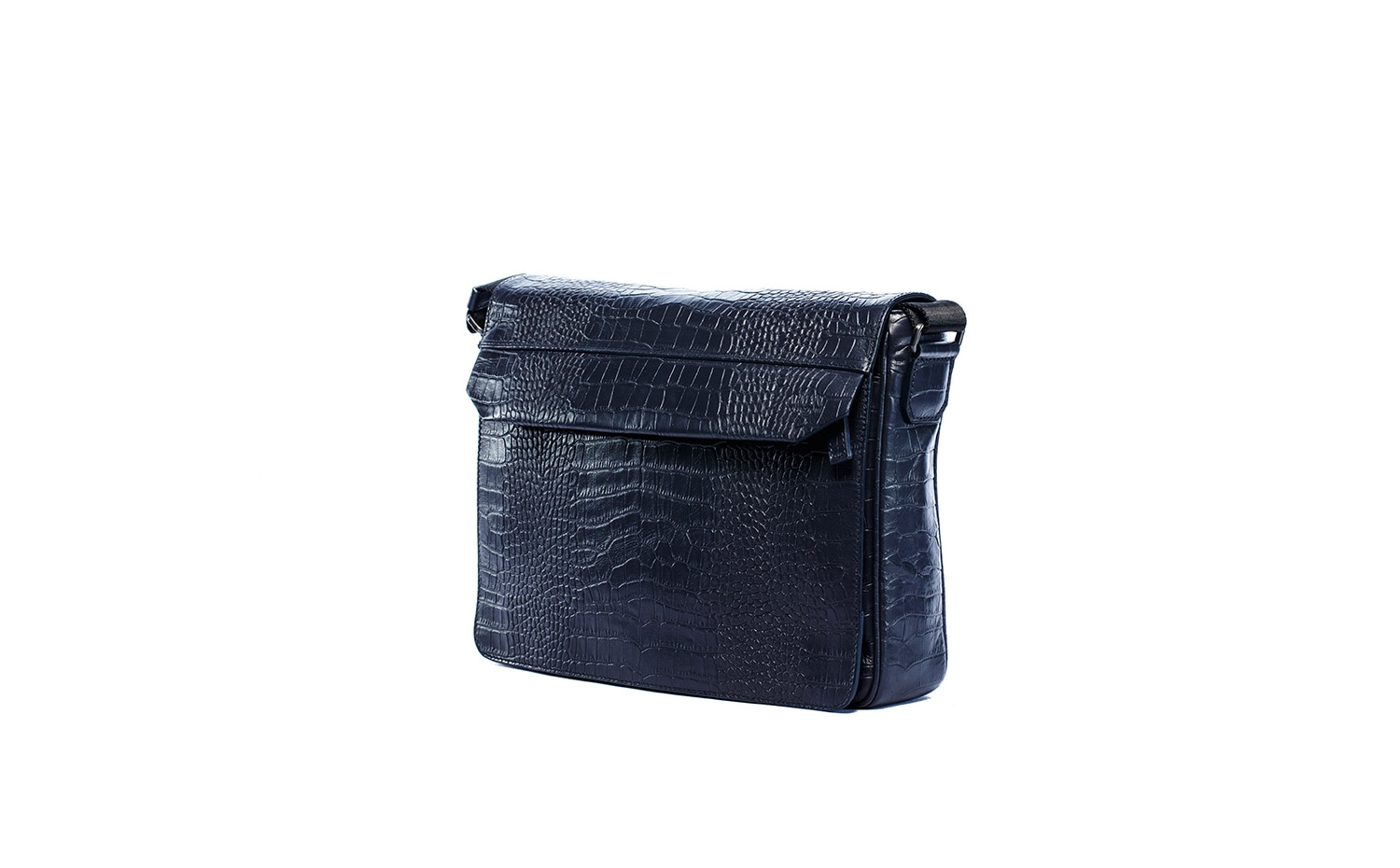 Armani Collezioni - Embossed Mock Croc Messenger in Navy