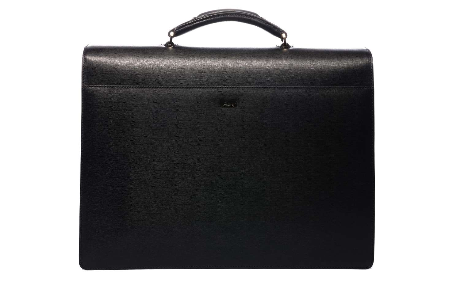 Brioni: Double Gusset Briefcase in Black