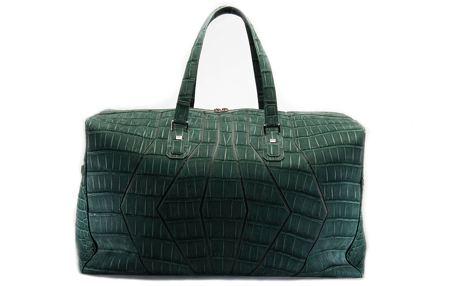 ZILLI: Green Nubuck Crocodile Travelling Bag