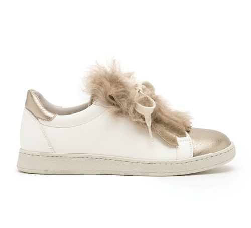 Leather and fur sneakers from Brunello Cucinelli