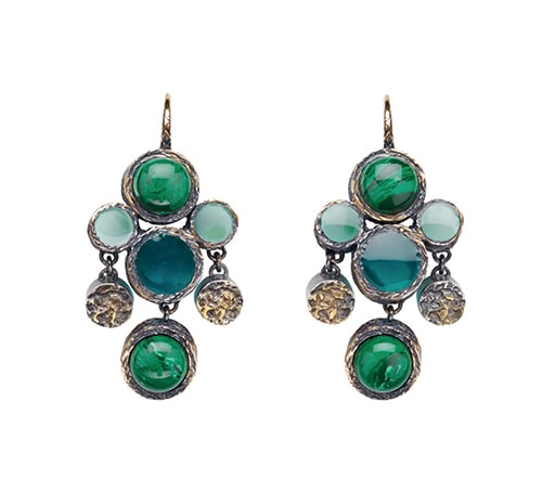 Front Row Fashion Week - Earrings in naturale multigreen malachite paste and enamel, sterling silver, yellow gold accents from Bottega Veneta