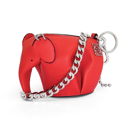 Punk Elephant Mini Bag Primary Red in leather with a chain strap from Loewe