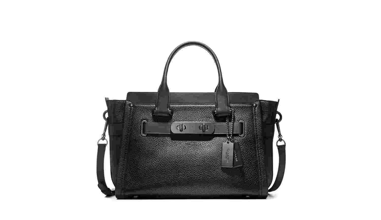 Pebbled Leather Coach Swagger Carryall