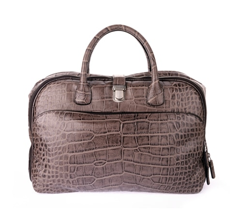 Giorgio Armani Calfskin Briefcase with Crocodile Pattern