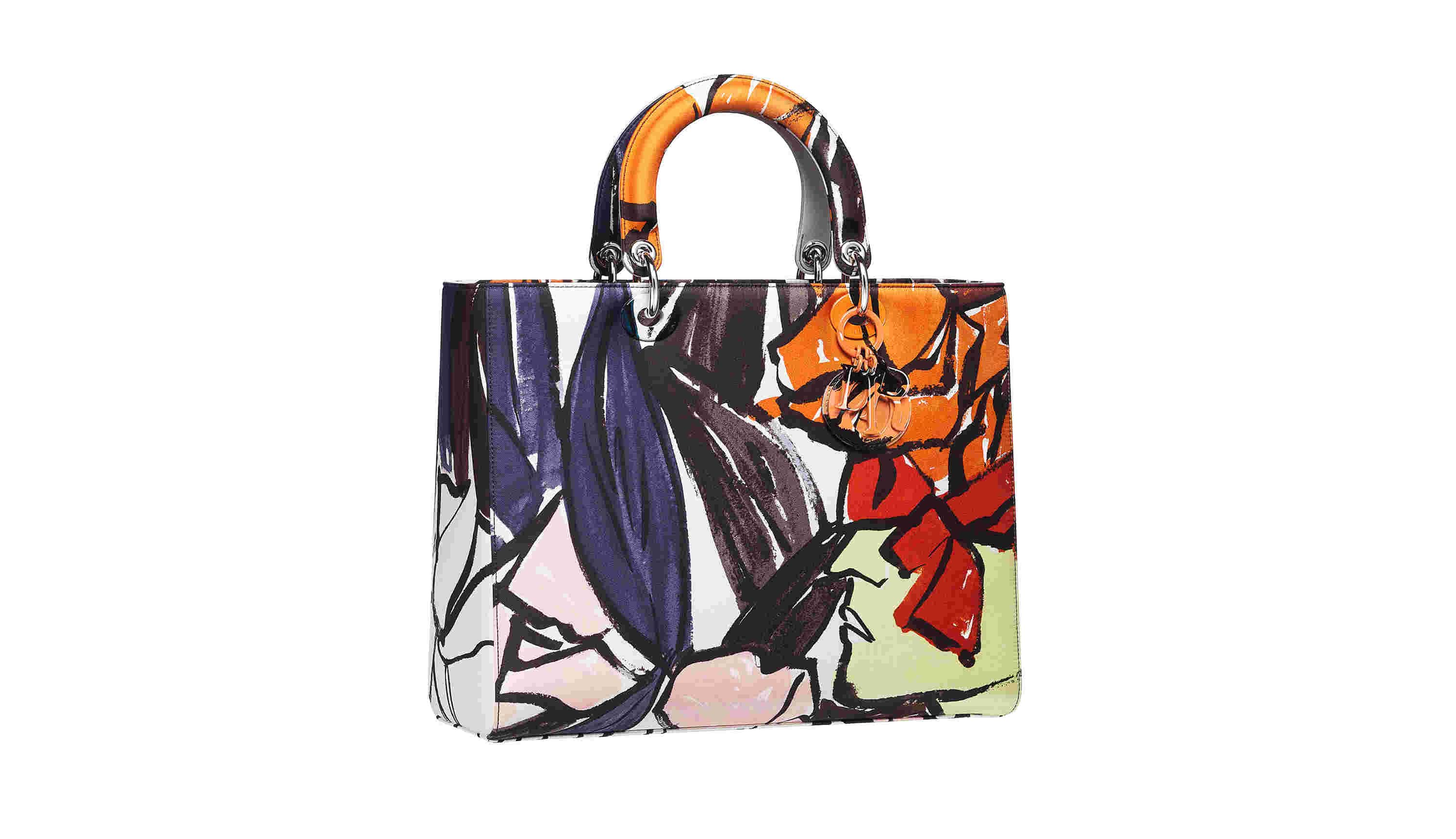 Large Lady Dior Bag in Silk Twill Printed with a Multicolour Pop Pattern, Tone on Tone Hand-painted Charms