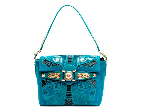 Versace Turquoise Suede D-Signature Shoulder Bag